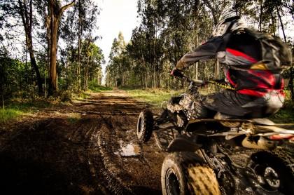 Quad rijden door het bos